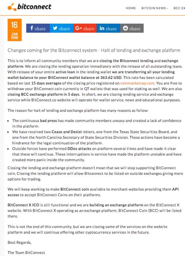 Fermeture de Bitconnect et chute du BCC