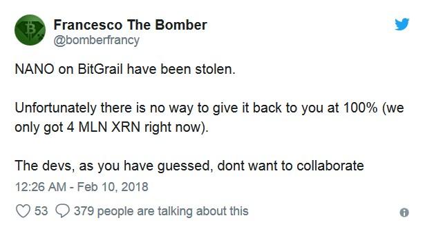 Hack sur BigGrail : Plus de 160 millions d'euros en Nano volés