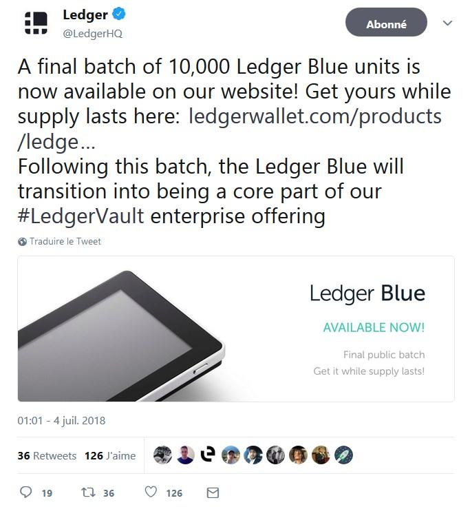 un dernier lot de 10 000 ledger blue mis en vente