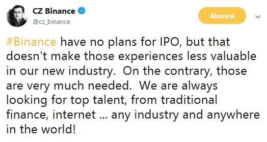 Binance dément la rumeur sur une possible introduction en bourse (IPO)
