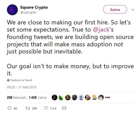 Square : L'adoption massive de la cryptomonnaie est inévitable
