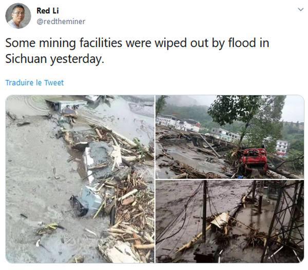 [Vidéo] Une ferme minière Bitcoin dévastée par les inondations en Chine