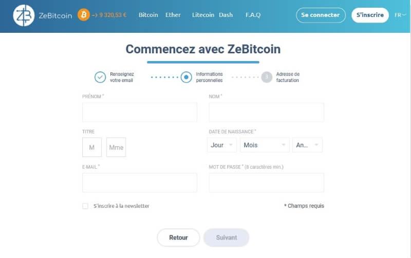 ZeBitcoin - page d'inscription 2-3