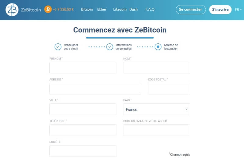 ZeBitcoin - page d'inscription 3-3