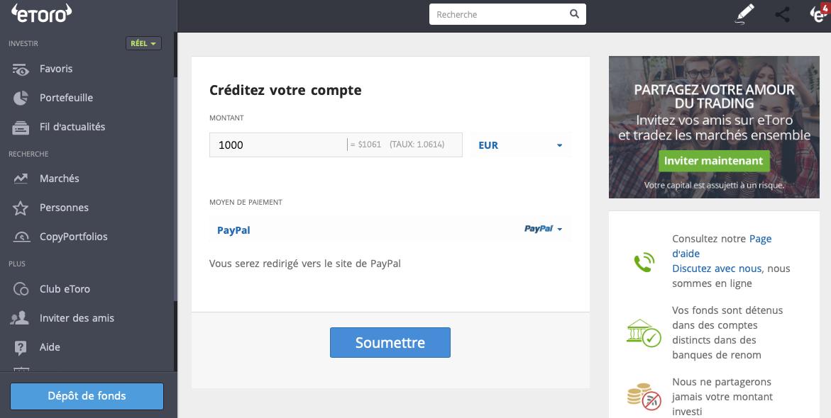 Déposer de l'argent sur compte eToro via PayPal