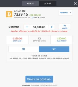 Bitcoin PayPal - Ordre de trading sur eToro