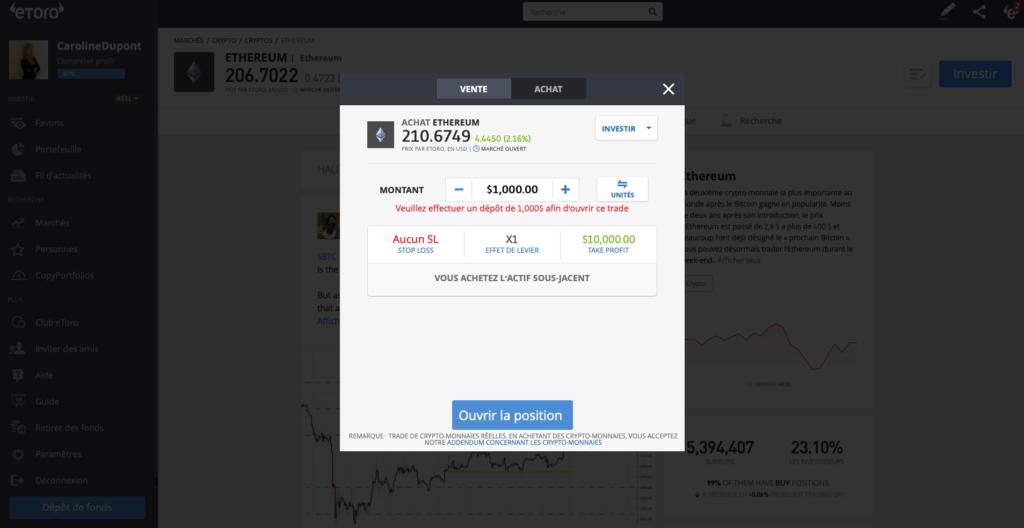 trading ethereum eth investir