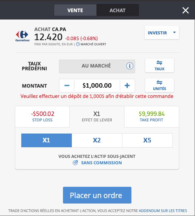 Acheter Carrefour avec eToro