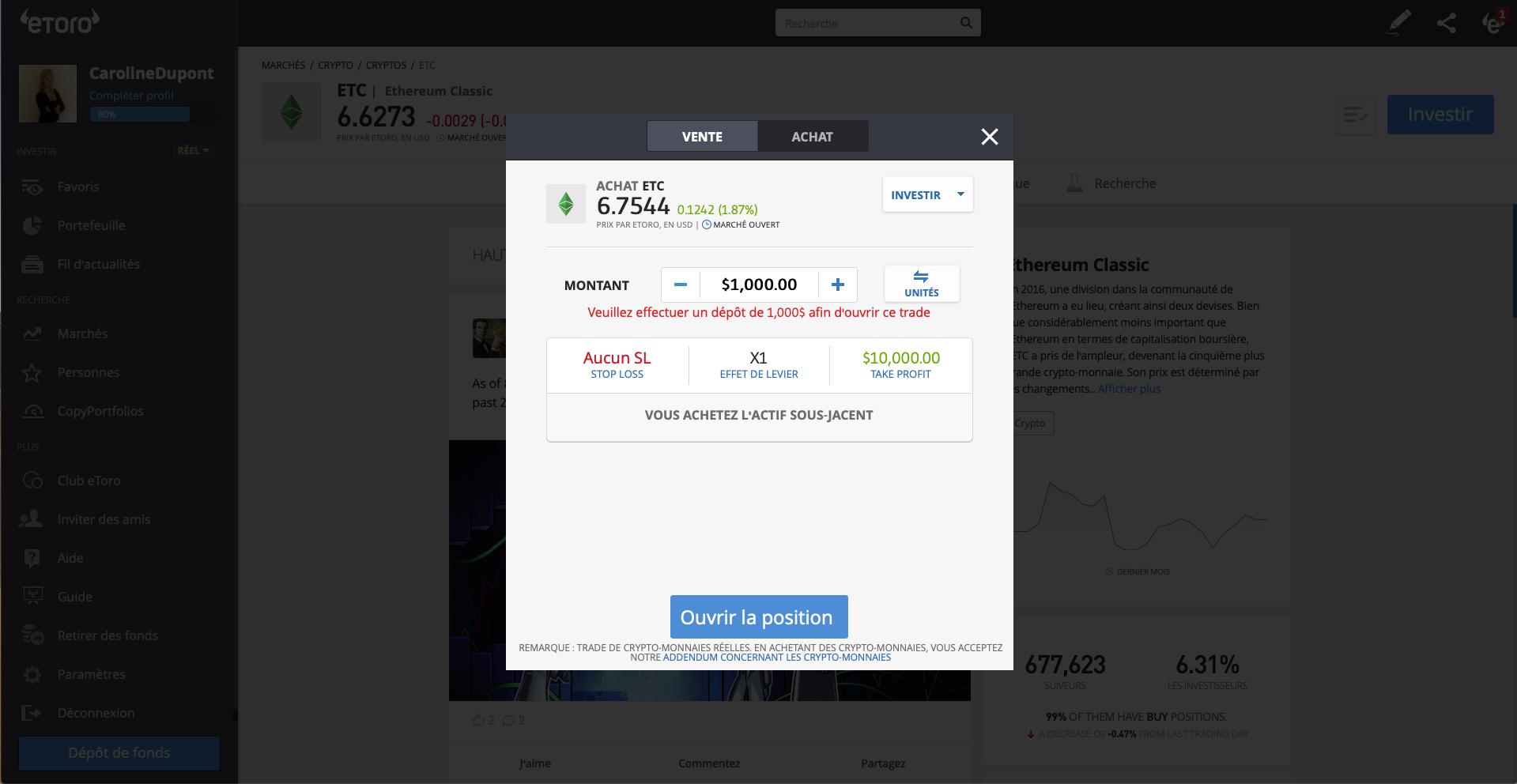 Investir Ethereum Classic eToro