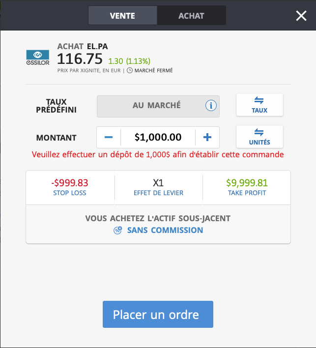 Acheter Essilor EL sur eToro
