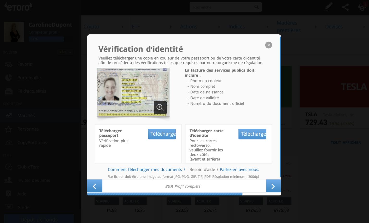 Vérifier identité sur eToro