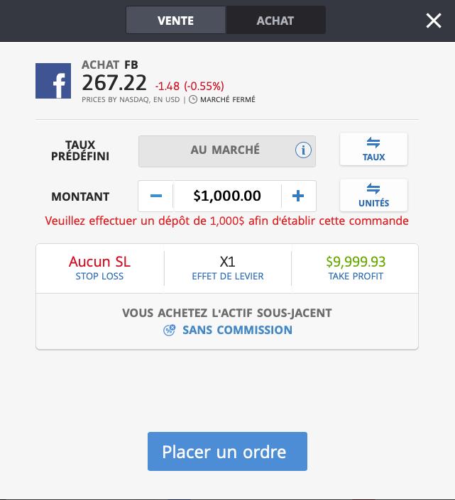 Acheter action Facebook sans effet de levier