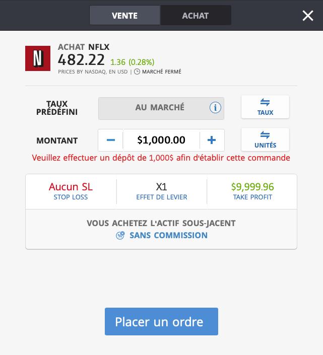 Acheter action Netflix sans effet de levier