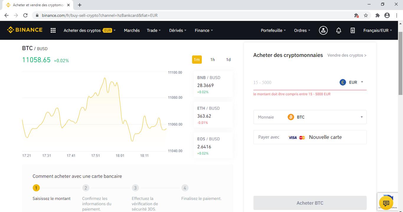 Binance, acheter du Bitcoin