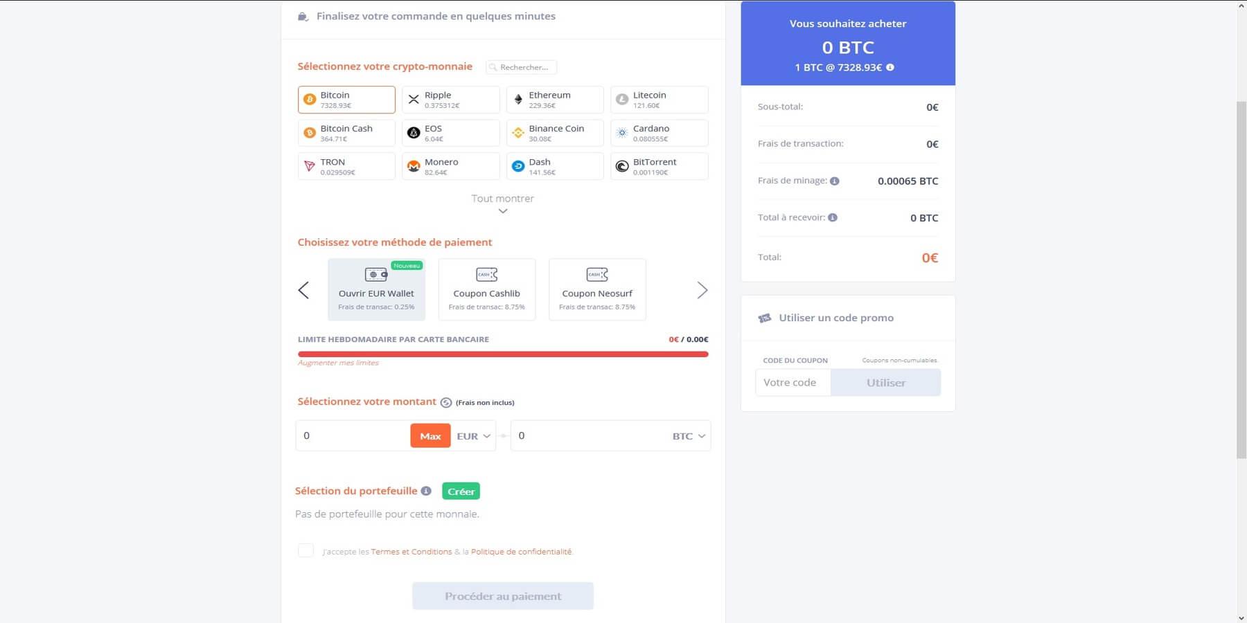 Etape 4: Acheter les Bitcoin