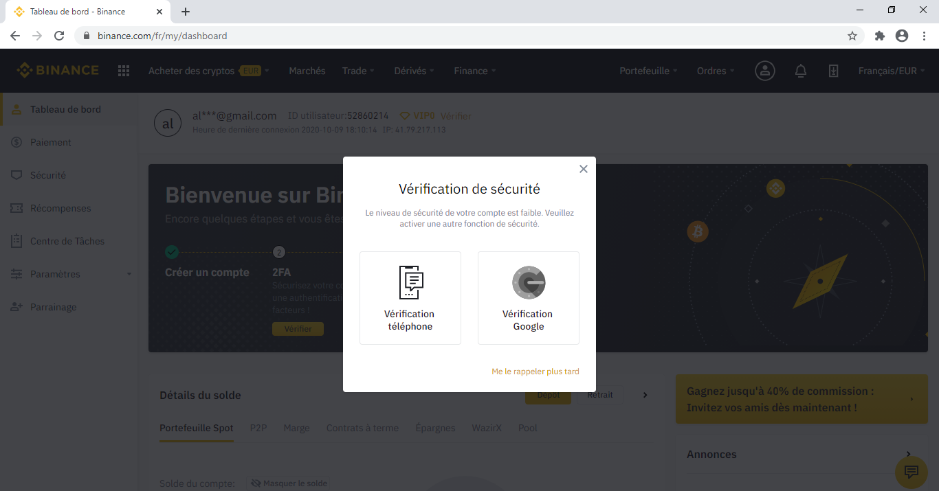 Vérification compte Binance pour acheter Digibyte