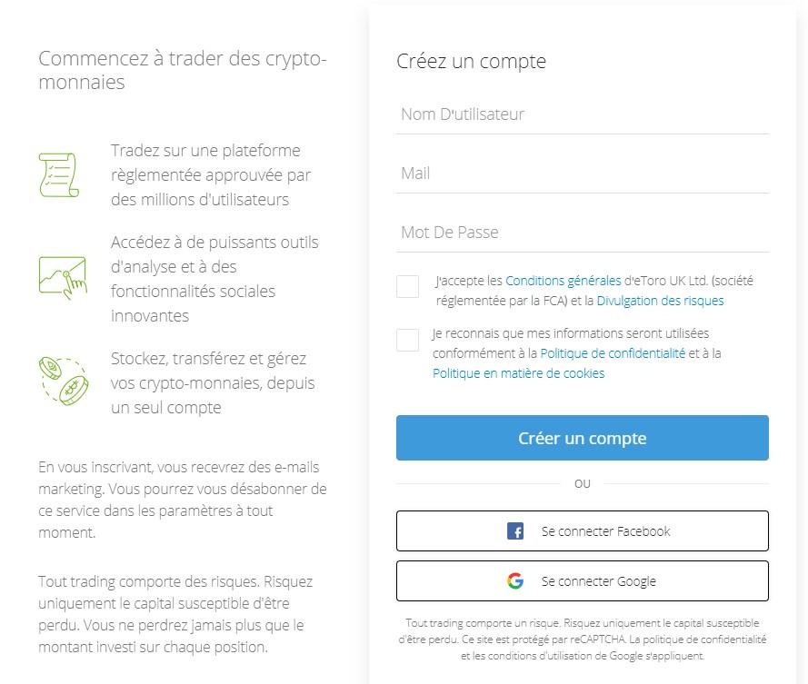 Étape 2: Ouvrir un compte de trading altcoin sur eToro