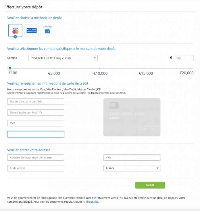 Étape 3: Approvisionnez votre compte EverFX (250$ au minimum)