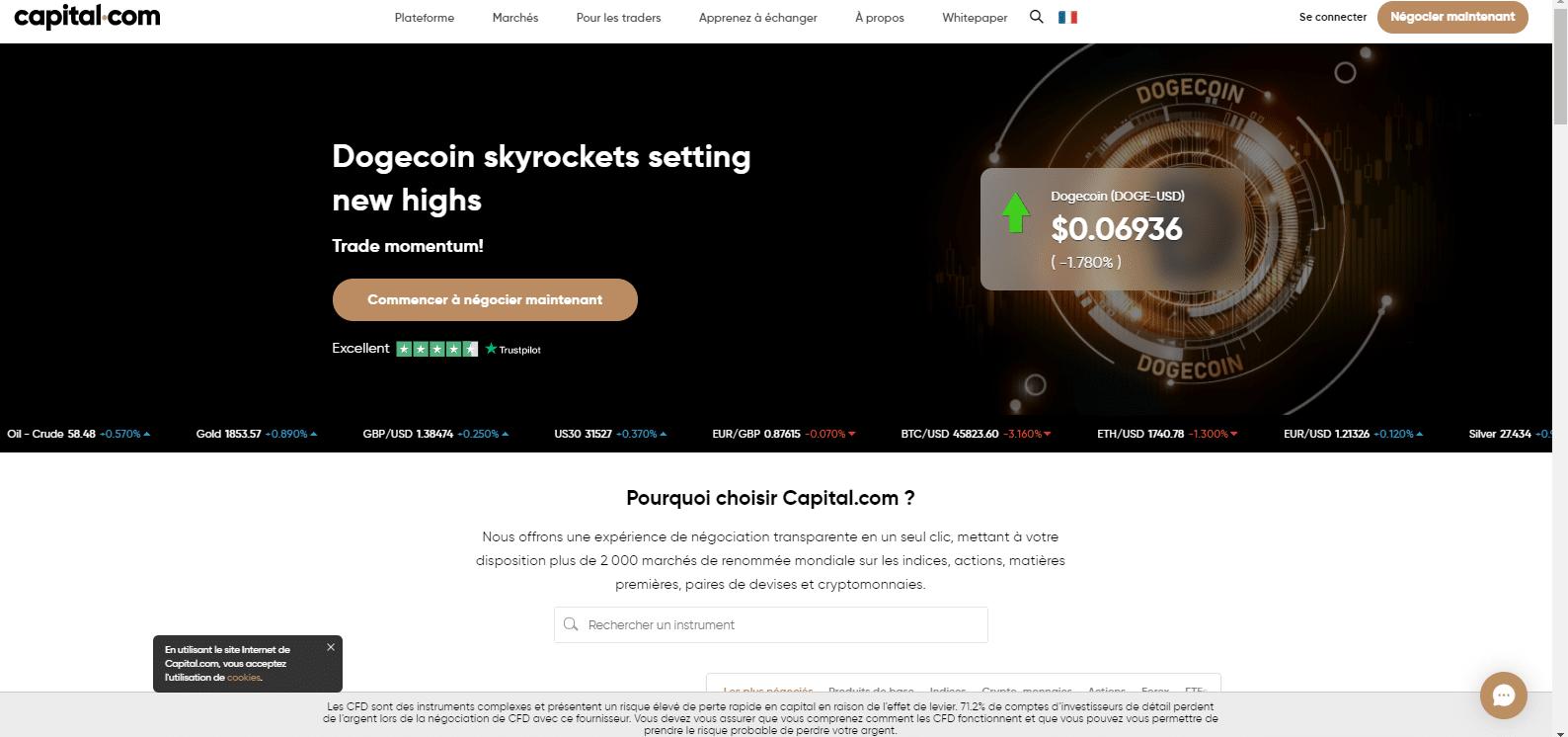 Page d'accueil Capital.com