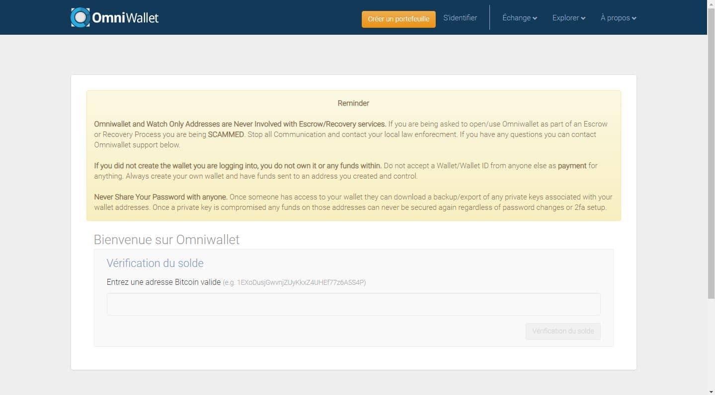 Utiliser Omniwallet