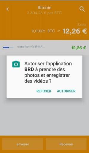 Autoriser l'application BRD bread wallet