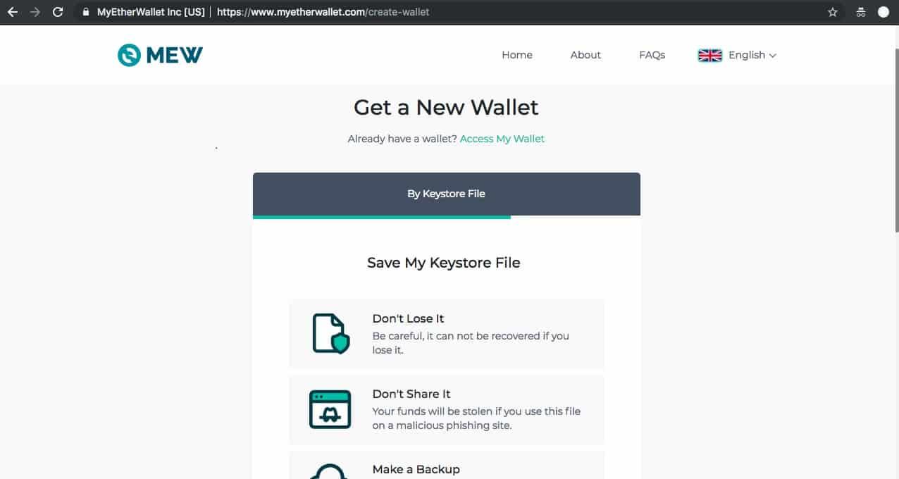 Conservation de votre Keystore File