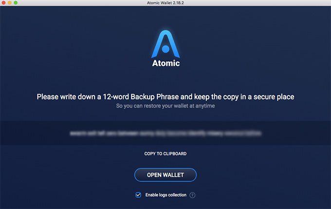 2. Configurez votre portefeuille Atomic