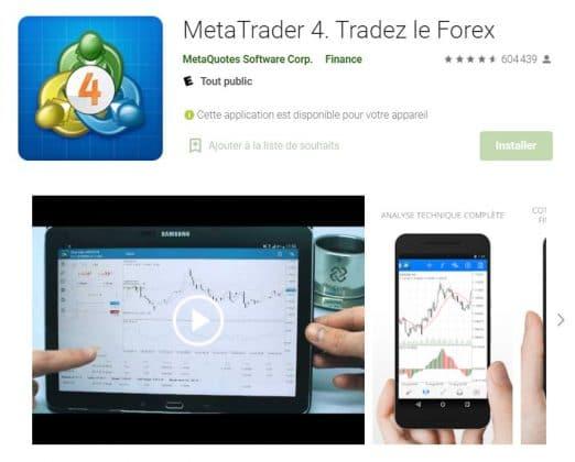 Une offre de trading mobile