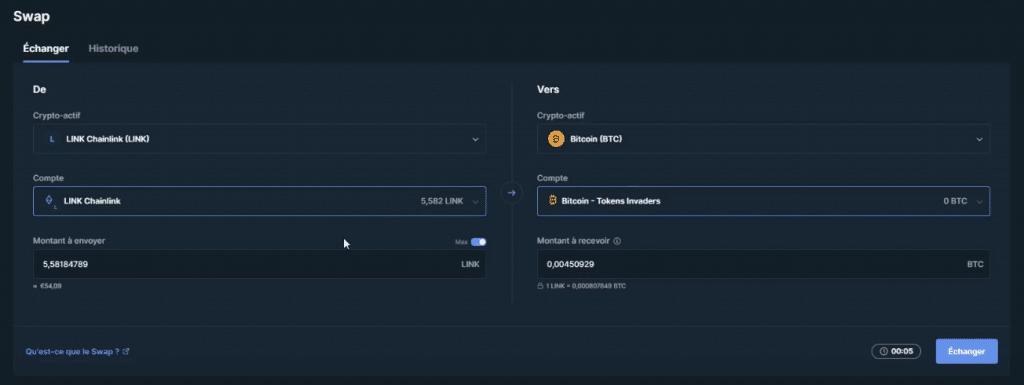 Echanger des cryptos avec le Nano X