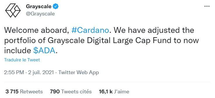 GrayScale Investments ajoute ADA Cardano dans son portefeuille