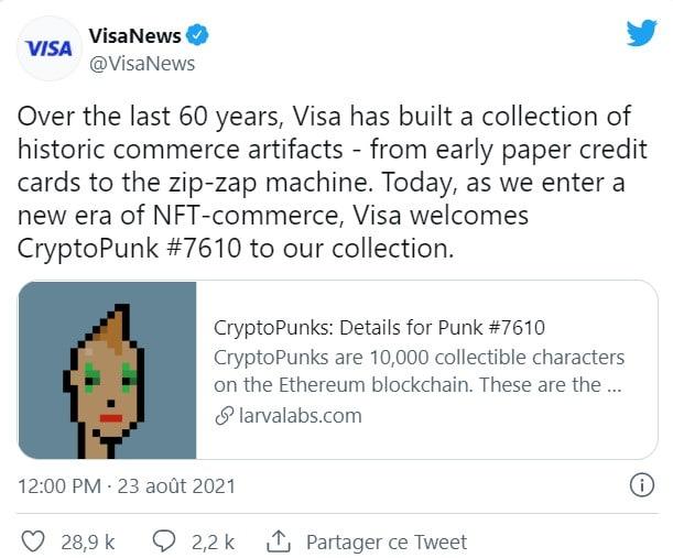 Un NFT cryptopunk a récemment été acheté par VISA à annoncé l'entreprise via Twitter