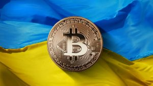 Le drapeau de l'Ukraine avec un jeton