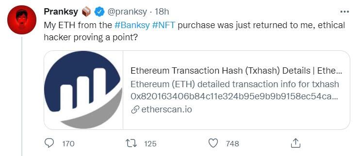 NFT de Banksy, le Hacker était Ethique